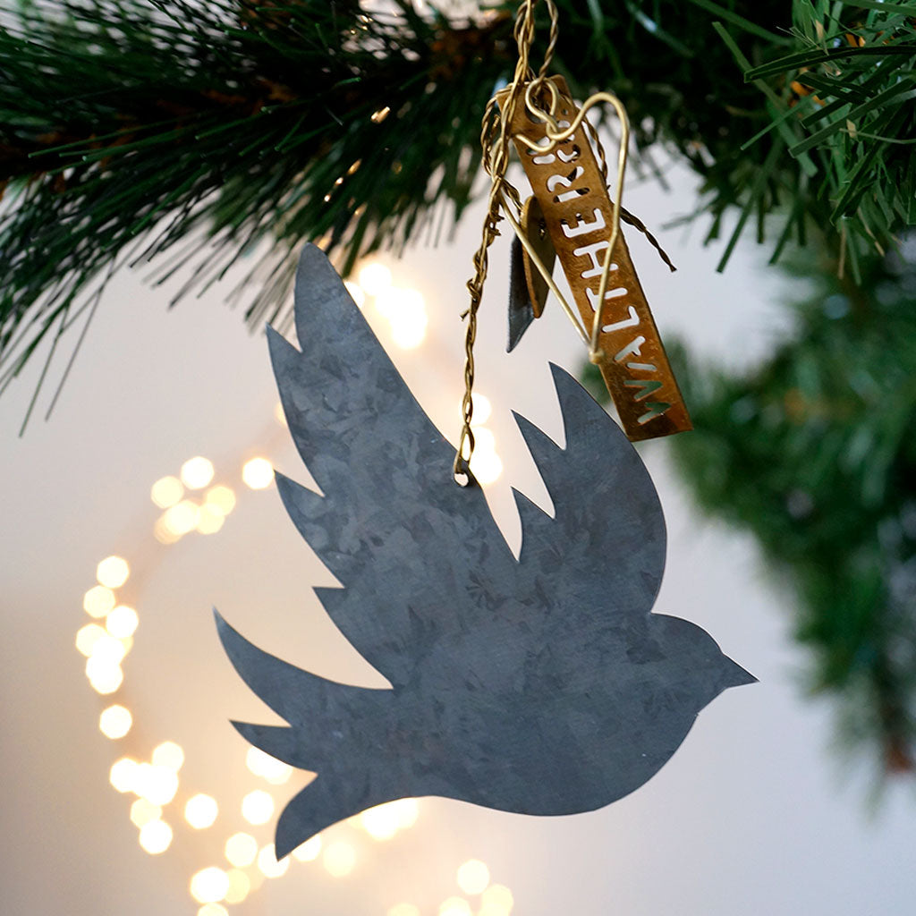 Danish Zinc Dove Decoration - Meg Morton