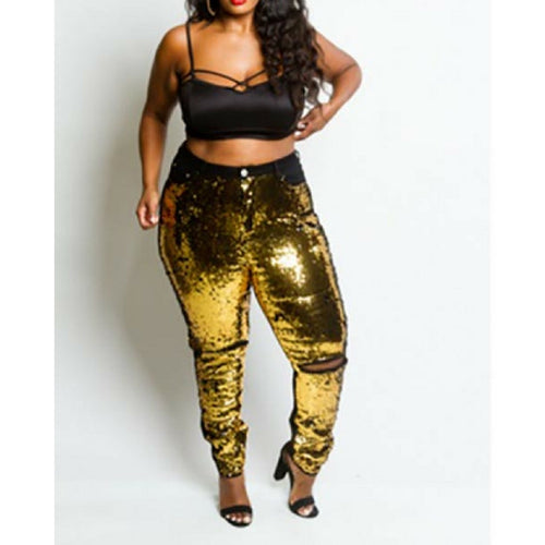 Plus Size Sequin Jeans