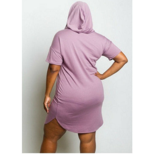 Plus Size Distressed Hooded Dress