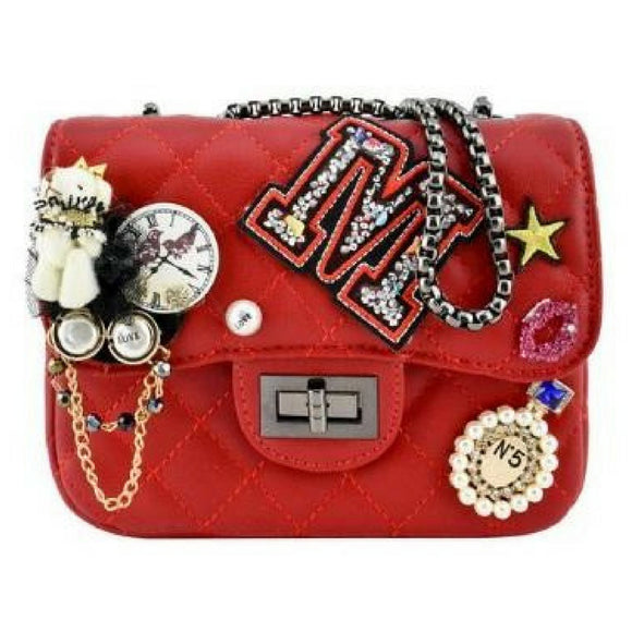 Mini Red Multi Patched Bag