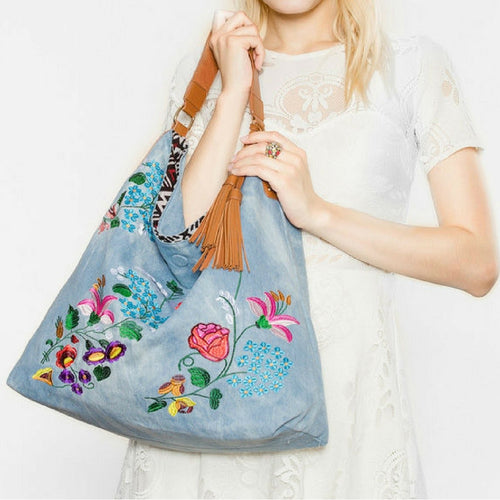 Denim Embroidered Double - Face Tote