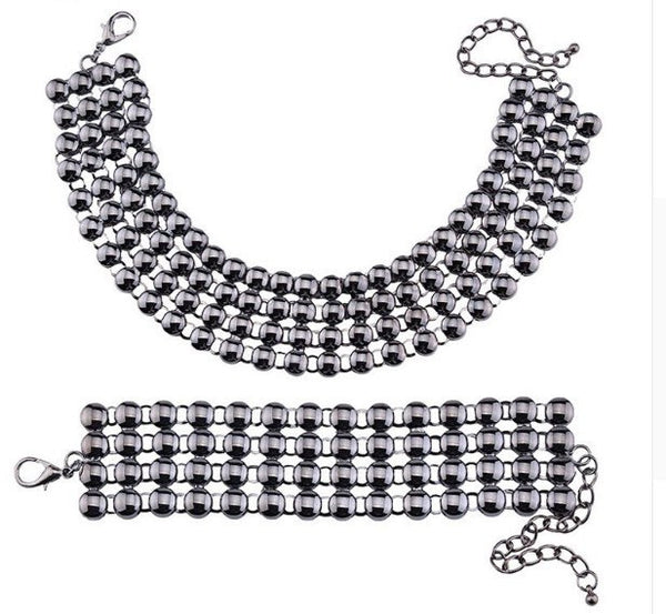 Luxury Vintage Bead Necklace and Bracelet Set