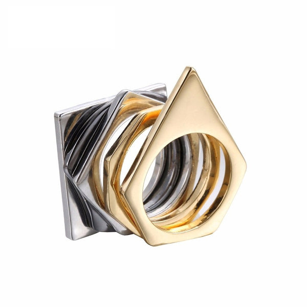 Unique Geometric  Rings - Gold Plated