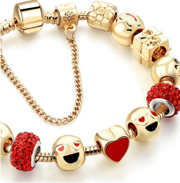 Emoji Crystal Charms Bracelet - Gold Plated