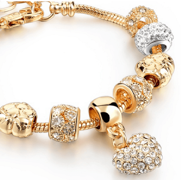 Gold Plated Crystal  Charm Bracelet