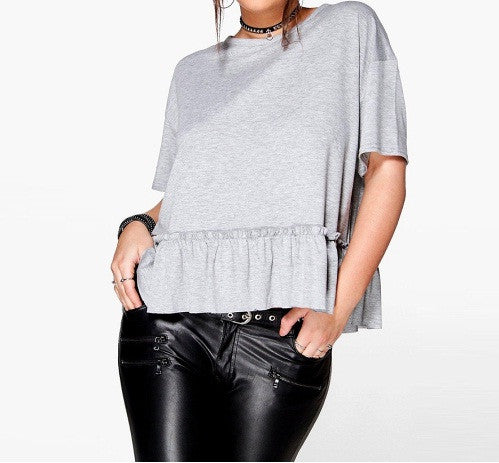 Plus Size Gray T-Sirt
