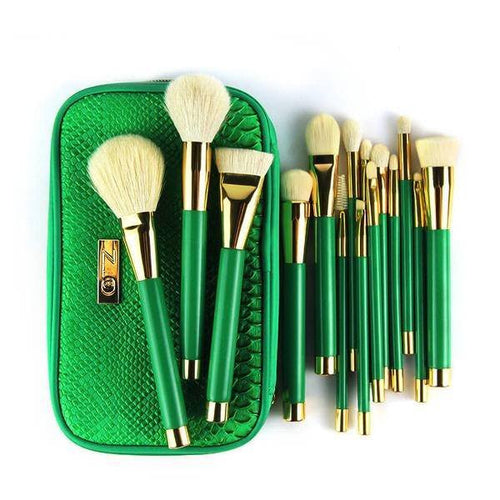 Goat Hair Makeup Brushes + Zipper Bag - Lolipop Shop