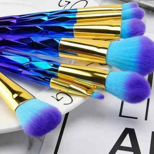 Blue Rainbow Makeup Brushes - Holographic