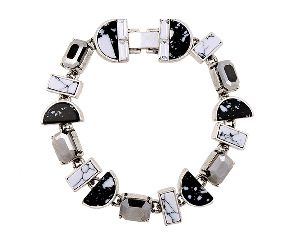White and Black Marble Bracelet