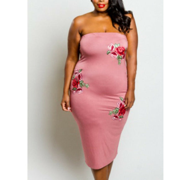 Embroidered Floral Pencil Dress