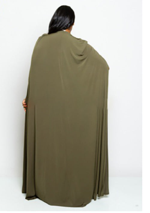 Cape Back Olive Dress