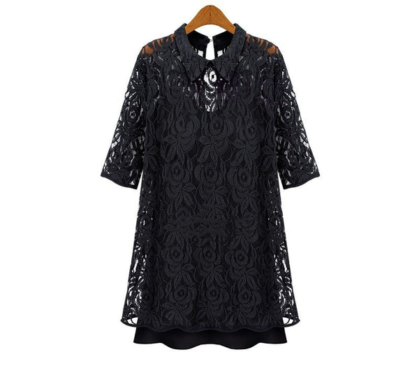 Plus Size  Black  Lace Dress