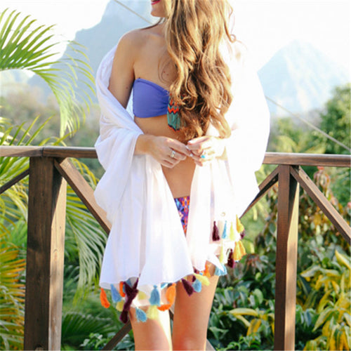 Plus Size Swim Cover Up With Tassel
