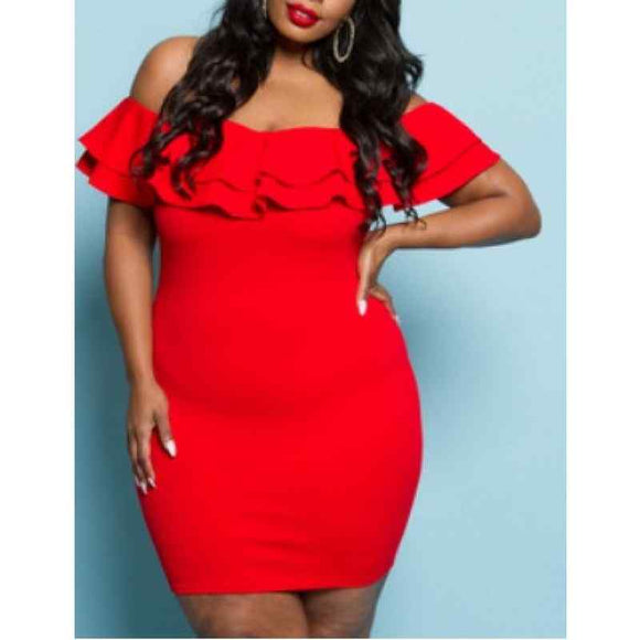 Red Plus Size Off The Shoulder Dress
