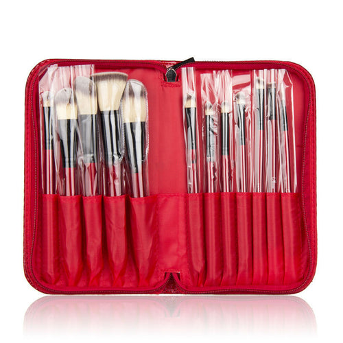 Red Makeup Brushes With Pouch Bag