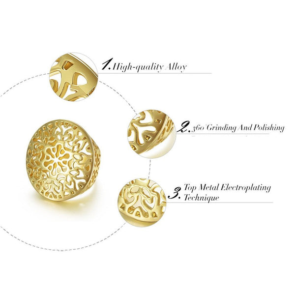 Hollow Out Circle Round Ring - Gold Plated - Lolipop Shop