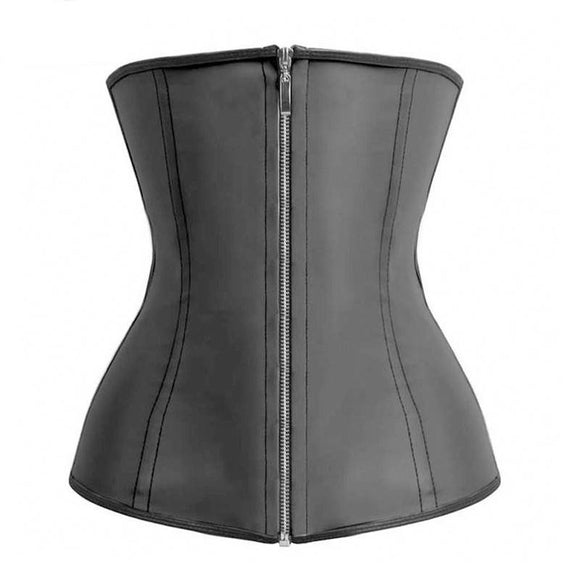 Latex Waist Cincher With Zipper And Hooks - Lolipop Shop
