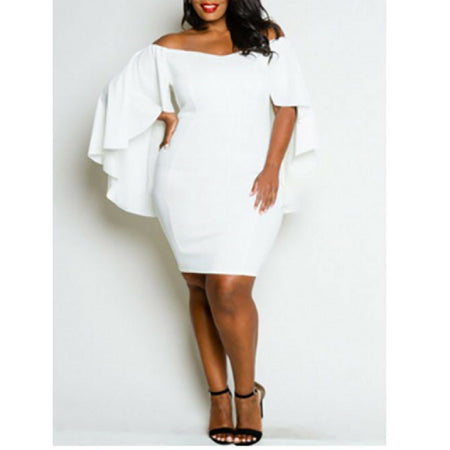 White Plus Size Dress With Cape