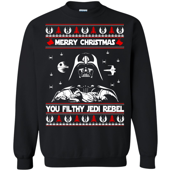 darth vader merry christmas you filthy jedi rebel ugly sweater shirt