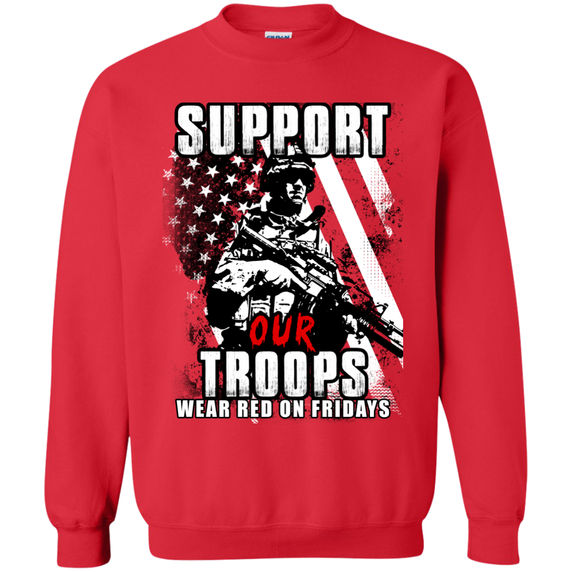 Support our troops wear red on fridays shirt hoodie tank for Red support our troops shirts