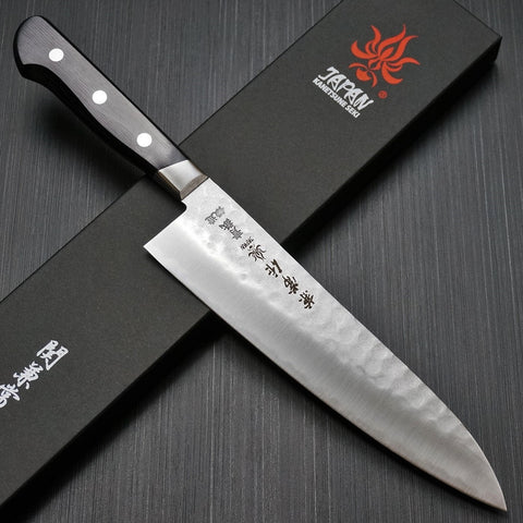 Kanetsune 3 Capas Nashiji Martilladas Acero Azul AOGAMI #2 Cuchillo del Cocinero / Gyuto, Chef 210mm KC-922 / Kanetsune 3-Layers Nashiji Hammered Blue Steel AOGAMI #2 Chef's Knife Gyuto 210 mm KC-922