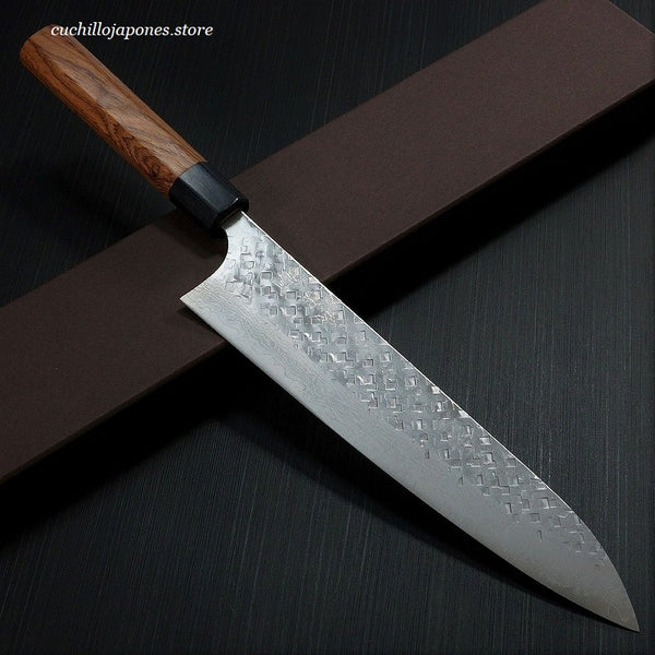 YOSHIMI KATO Martillado VG10 Damasco Cuchillo del Cocinero / Gyuto, Chef's Knife 210mm KA402