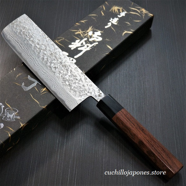 KATO Martillado VG10 Damasco Cuchillo Nakiri 160mm KA406