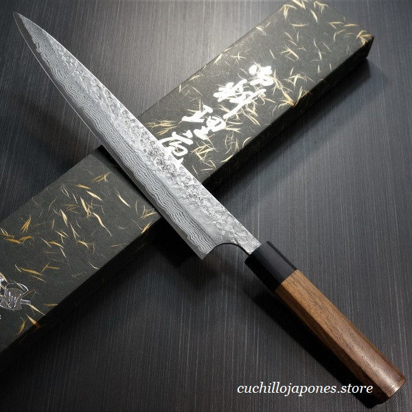 KATO Martillado VG10 Damasco Cuchillo Sujihiki 160mm KA407