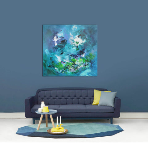blue and teal abstract paintings for sale
