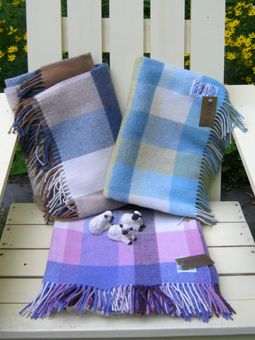 Avoca Irish Woolen Blankets in soft tartan plaids, by Avoca