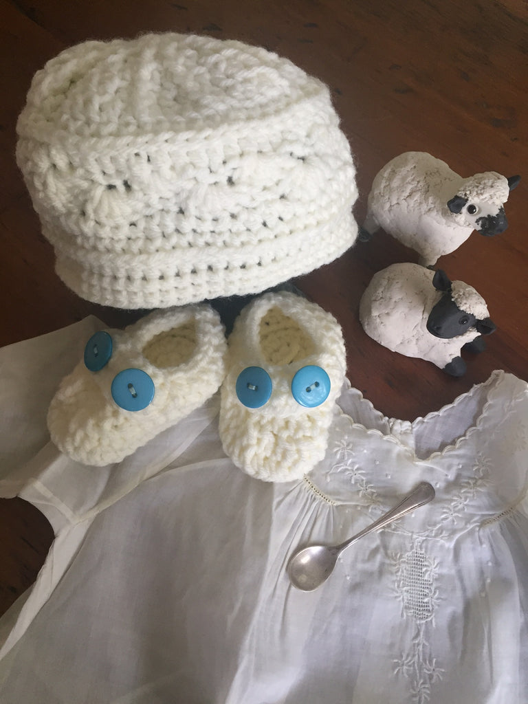 Baby Cap and Bootie Set, Hand Knit in Co.Cork
