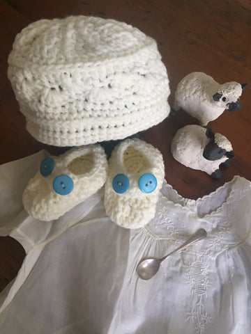 **Baby Cap and Bootie Set, Hand Knit in Co.Cork