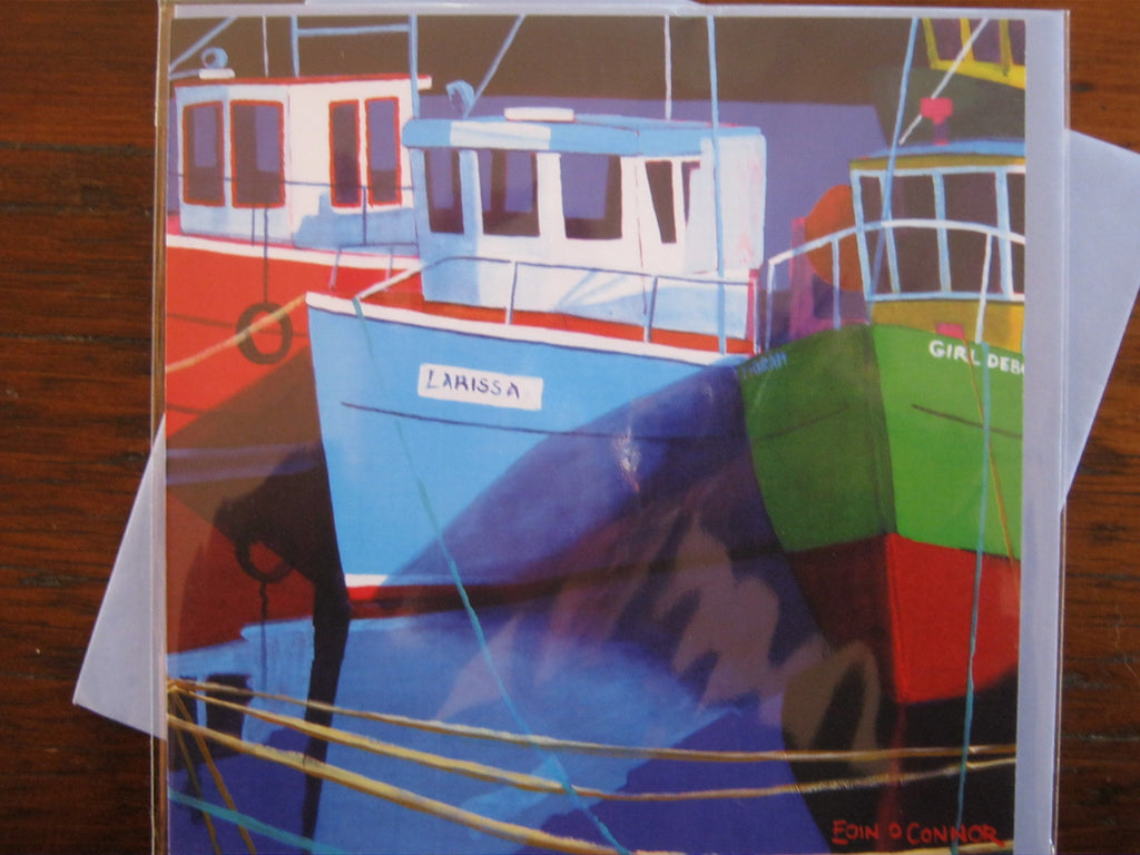 Greeting Cards by Eoin O'Connor - Moored Trawlers