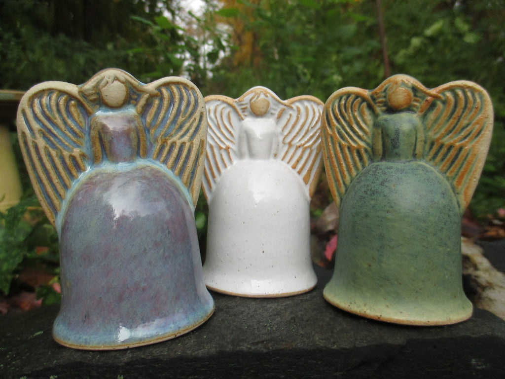 Angel Pottery Bell by Ballymorris Pottery in Blue, White or Green for $25.00.
