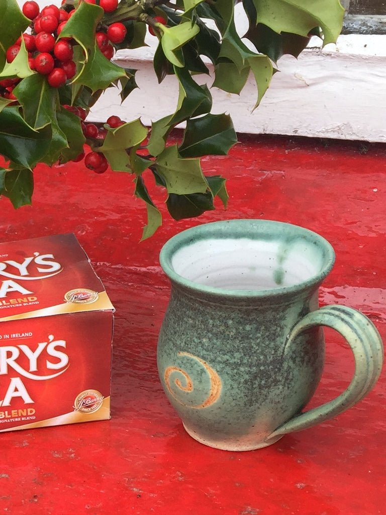 Pottery bell shaped mug in green or blue by Ballymorris Pottery of Ireland