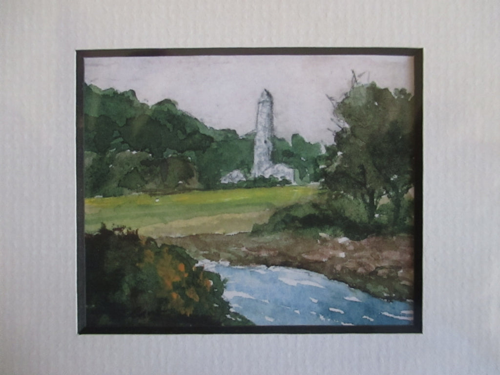 Glendalough Tower Matted Print
