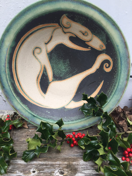 Ballymorris Pottery large Stoneware bowl in Green with Celtic Image of dog in center.