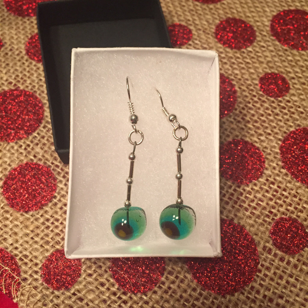 Green Glass Earrings by Maura Whelan