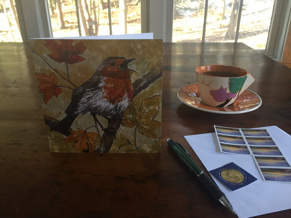 Large Bird drawing in autumn colored background by Annabel Langrish