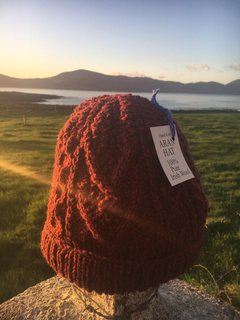 *New Hand Knit Aran Hats made of 100% Pure Irish Wool
