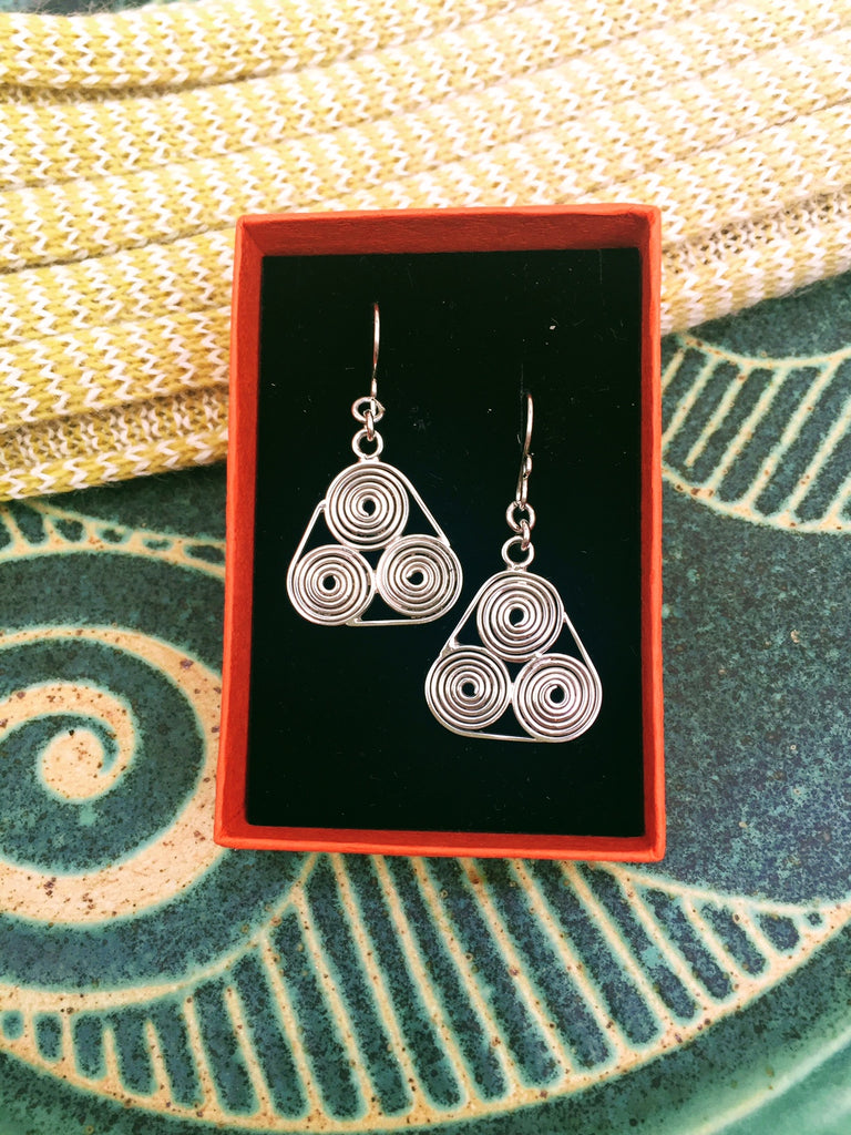 *New Silver Triskele Earrings by Norbert Abel