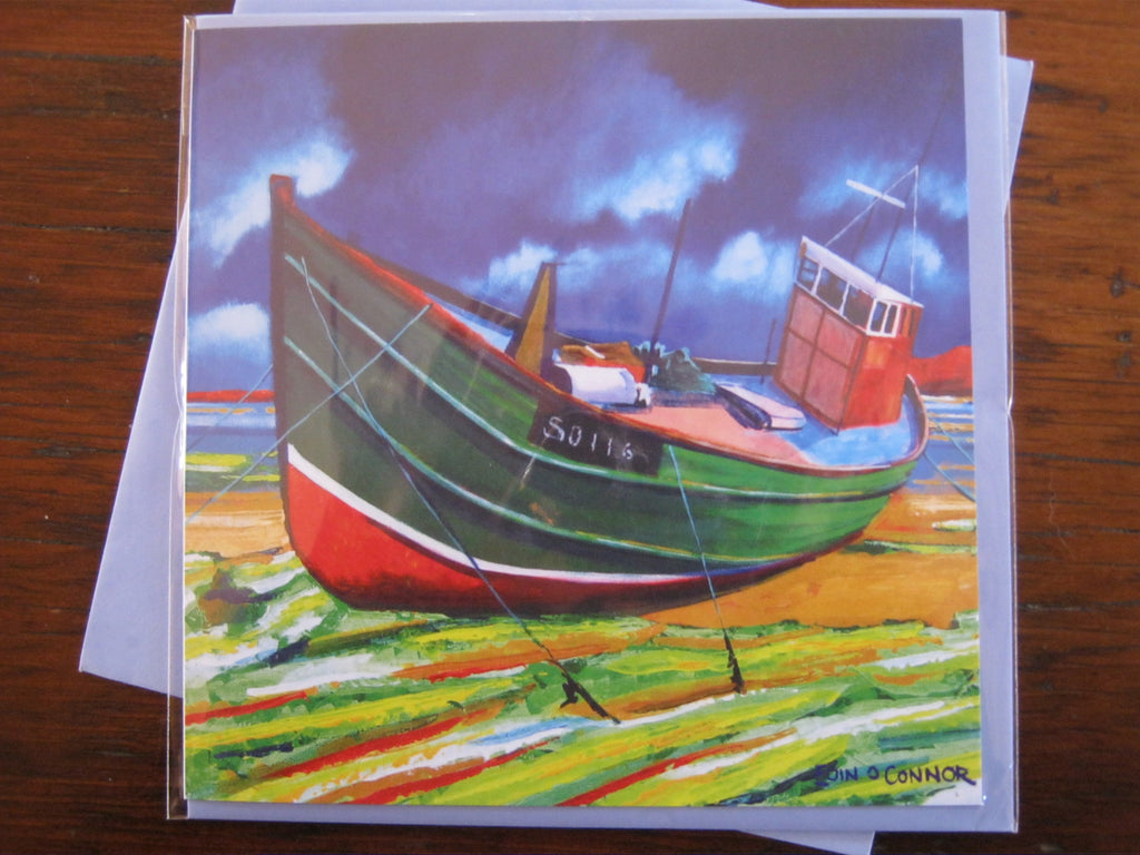 Greeting Cards by Eoin O'Connor - Beached Trawler