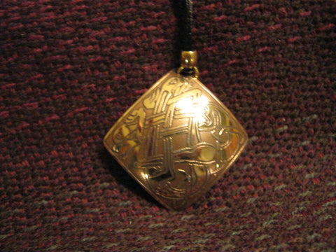 Celtic Etched Square Pendant