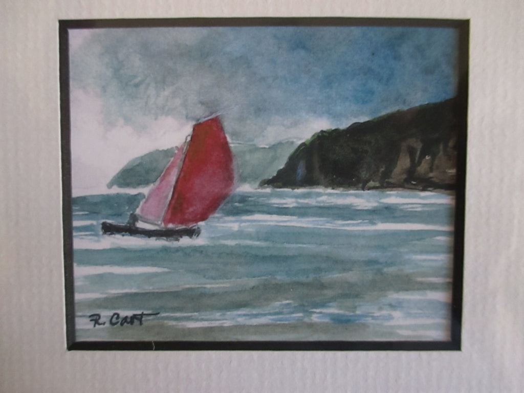 Sailing the Irish Sea Watercolor Print