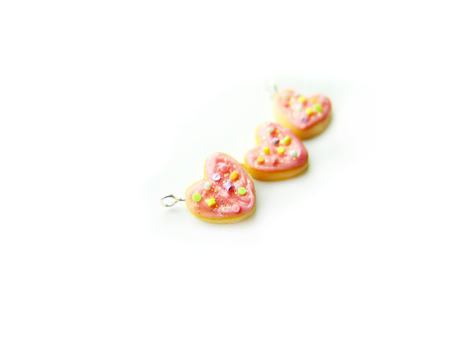 2020 Pink Sprinkle Heart Cookie Charm - Sucre Sucre Miniatures