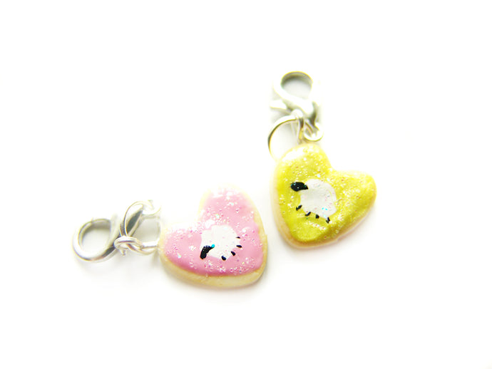Sleepy Sheep Heart Cookie Charm - Sucre Sucre Miniatures