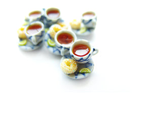 Tea and a Sugared Donut Charm - Sucre Sucre Miniatures