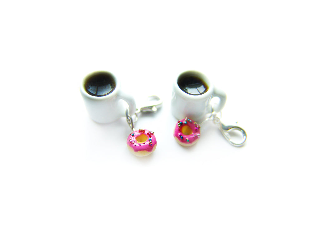 Coffee and a Pink Sprinkle Donut Charm - Sucre Sucre Miniatures