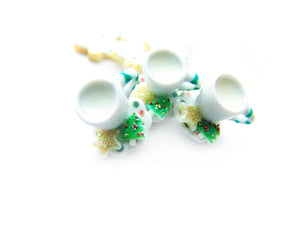 Milk and Cookies, Classic w/ ELF Green Stripe Cup - Sucre Sucre Miniatures