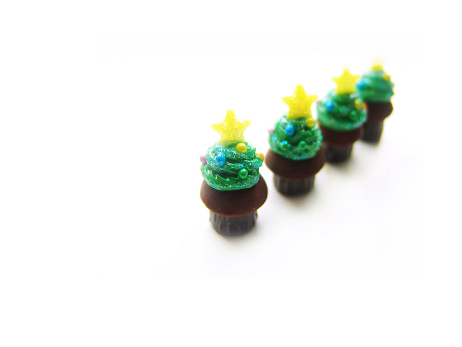 OOAK Limited Batch: Christmas Tree Cupcake Charm - Sucre Sucre Miniatures